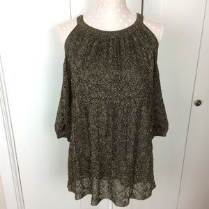 Missoni Metallic Knit Cold-Shoulder Top Sz S